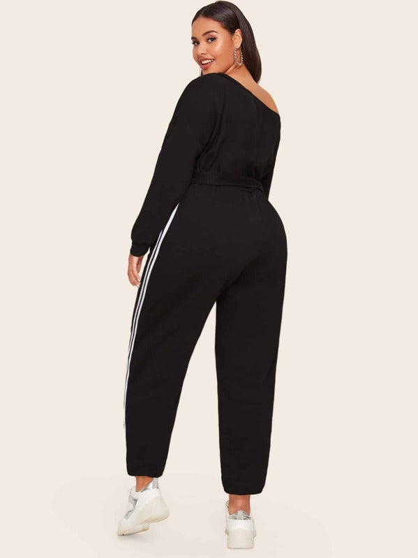 Plus Size Asymmetrical Neck Striped Side Belted Jumpsuit