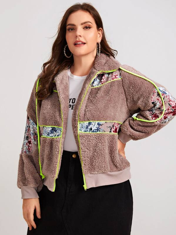Plus Size Contrast Ditsy Floral Drawstring Teddy Jacket Top