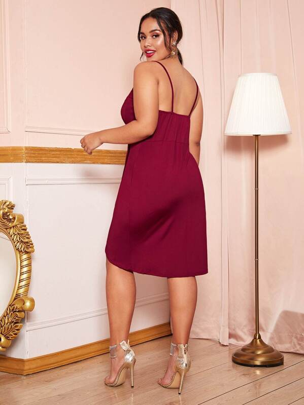Plus Size Ruched Surplice Cami Dress
