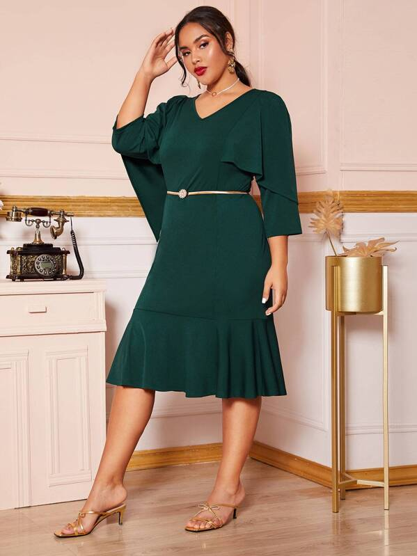 Plus Size Solid Ruffle Trim Fishtail Dress Without Belt
