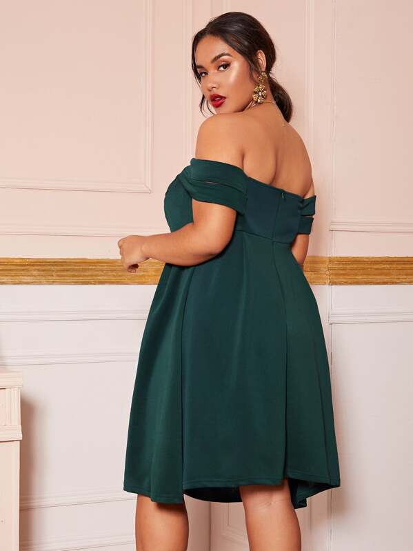 Plus Size Off Shoulder Midi Dress Without Belt
