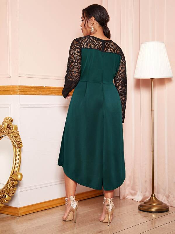 Plus Size Lace Panel High Low Dress Without Belt