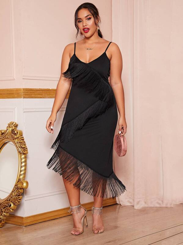Plus Size Fringe Trim Fitted Cami Dress