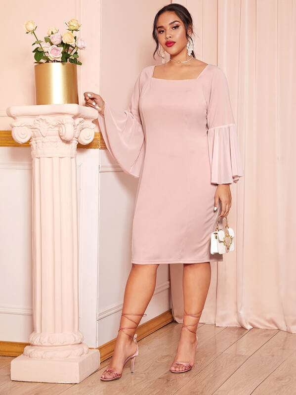 Plus Size Solid Square Neck Flounce Sleeve Dress