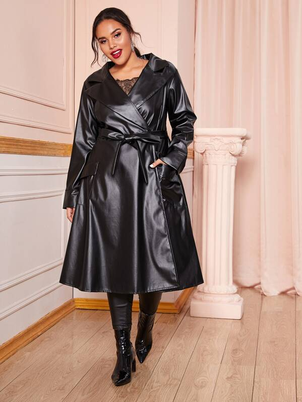 Plus Size Lapel Collar Belted Longline PU Coat Top