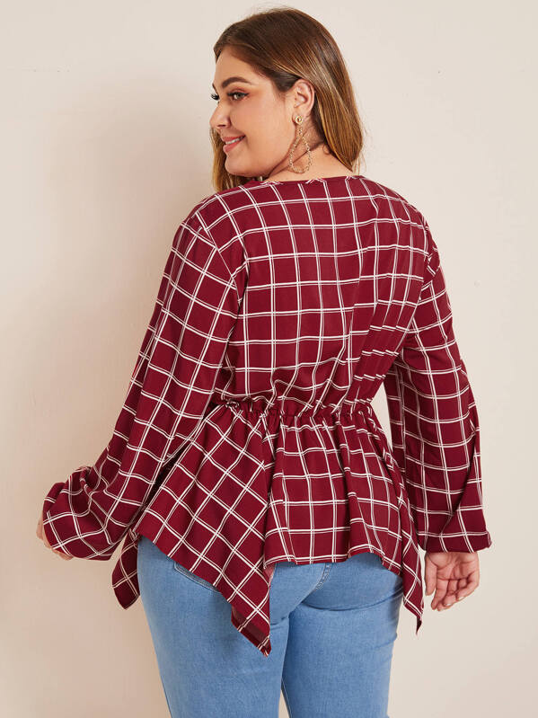 Plus Size Grid Lantern Sleeve Hanky Hem Peplum Top