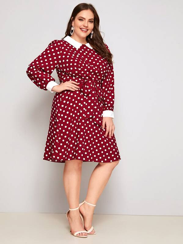 Plus Size Polka-Dot Peter Pan Collar Belted Dress
