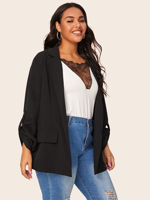 Plus Size Roll-Up Sleeve Top Lapel Neck Solid Blazer