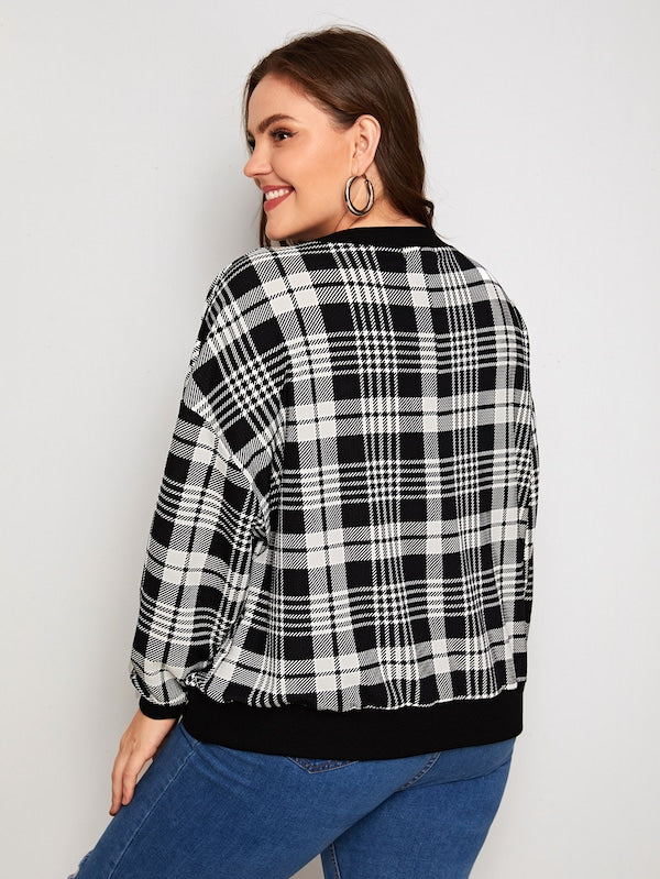 Plus Size Drop Shoulder Plaid Sweatshirt Top