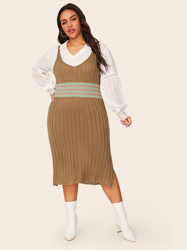 Plus Size Striped Slit Hem Rib-Knit Sweater Top Dress Without Top