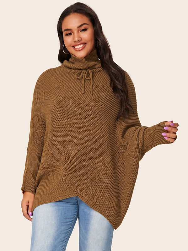 Plus Size Drawstring Turtleneck Dolman Sleeve Jumper