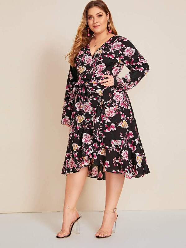 Plus Size Floral Print Ruffle Trim Belted Dress