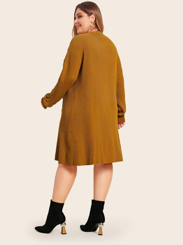 Plus Size Button Front Rib-Knit Sweater Dress