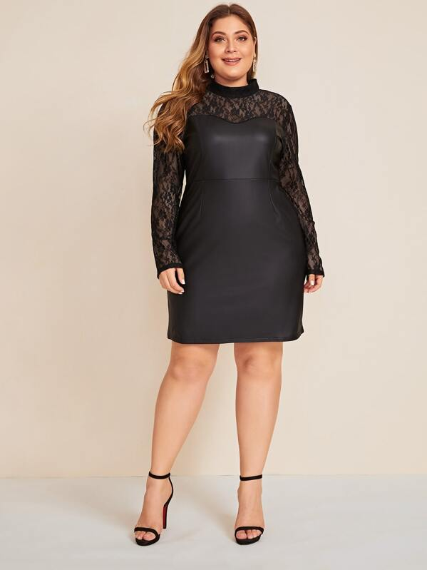 Plus Size Contrast Mesh Stand Collar Yoke PU Dress