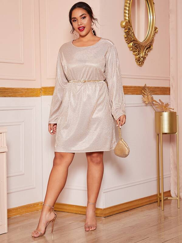 Plus Size Sparkly Glitter Long Sleeve Tunic Dress