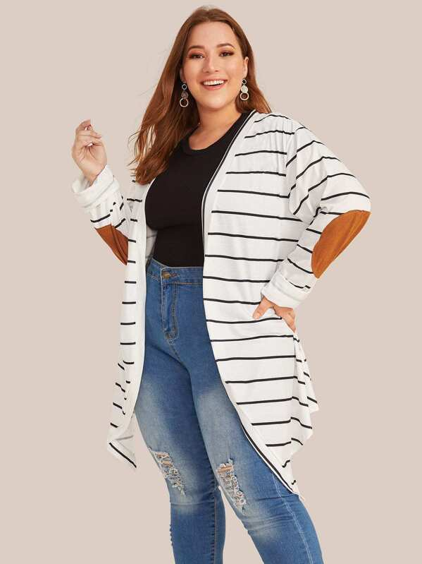 Plus Size Contrast Patched Striped Open Front Coat