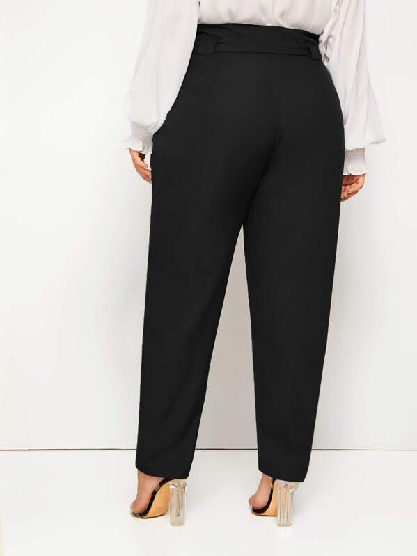 Plus Size Self Tie Solid Carrot Pants