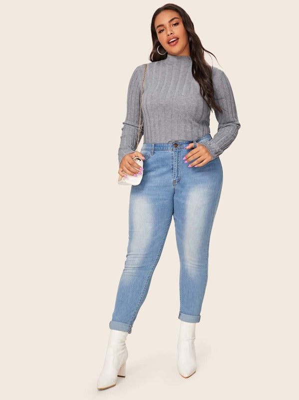 Plus Size Stand Collar Ribbed Knit Sweater Top