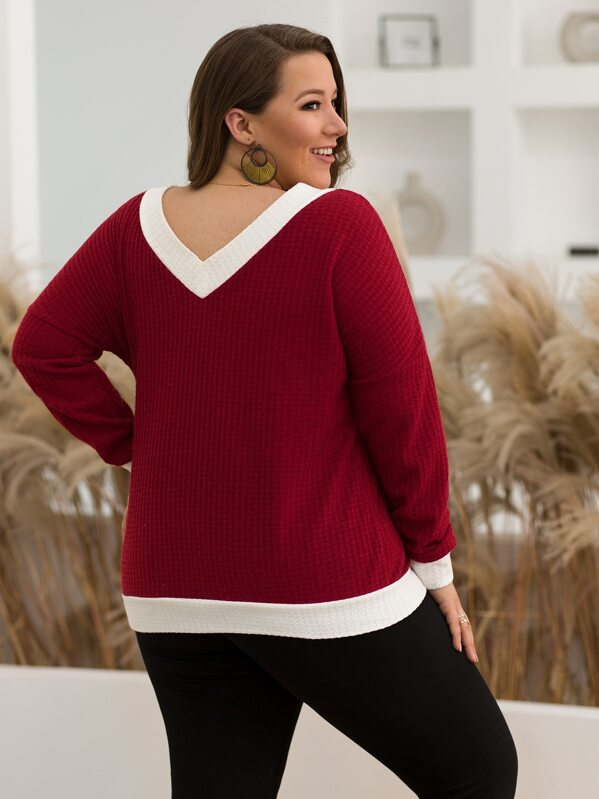 Plus Size Contrast Panel Double V Neck Sweater