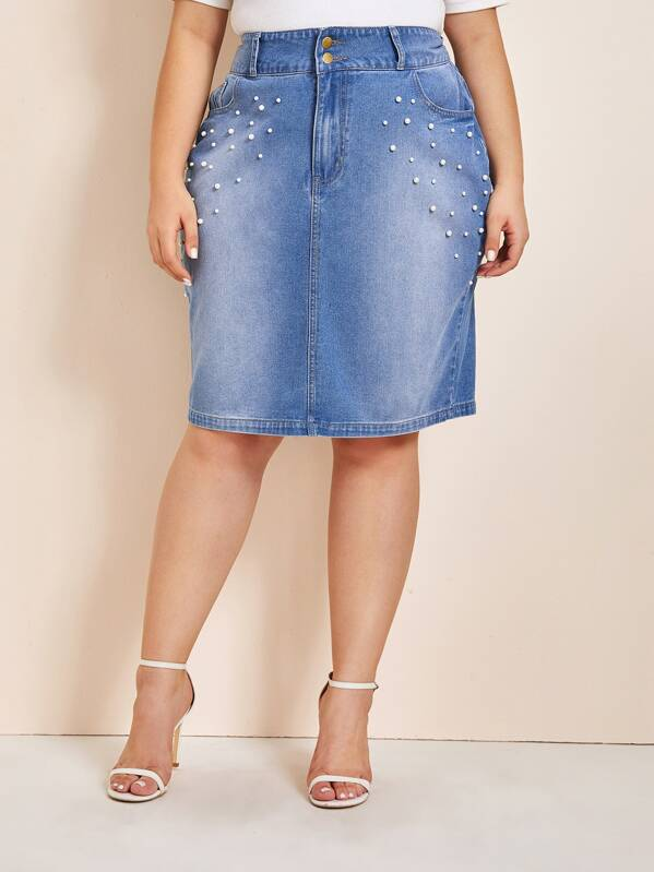 Plus Size Pearls Beaded Slant Pocket Bleach Wash Denim Skirt