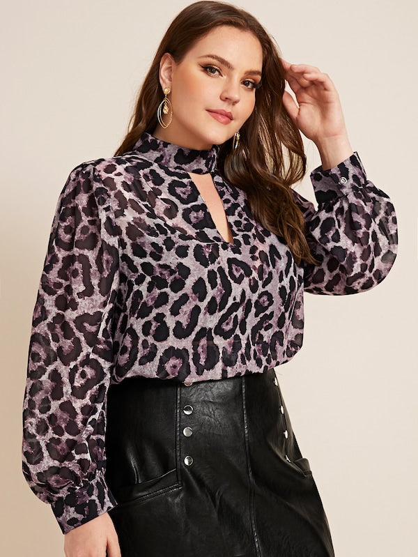 Plus Size Choker Neck Lantern Sleeve Leopard Top