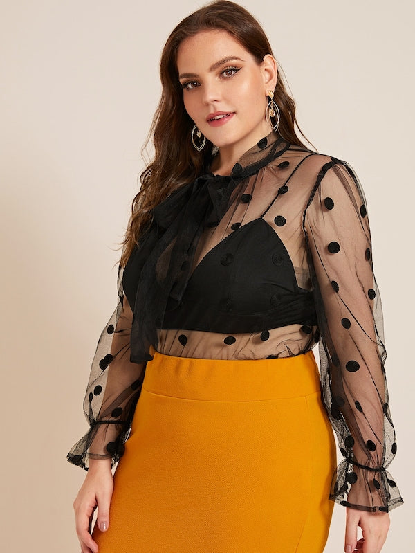 Plus Size Tie Neck Sheer Dot Mesh Top Without Bra
