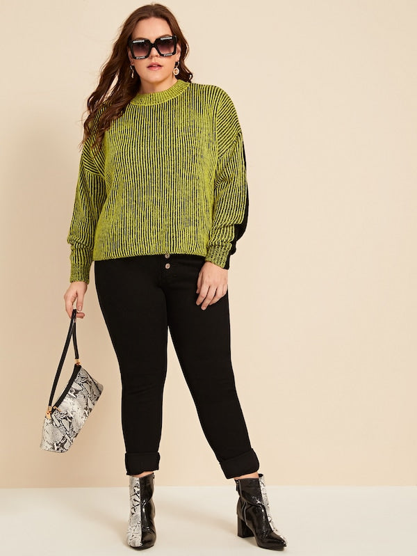 Plus Size Mock-Neck Two Tone Rib-Knit Sweater Top