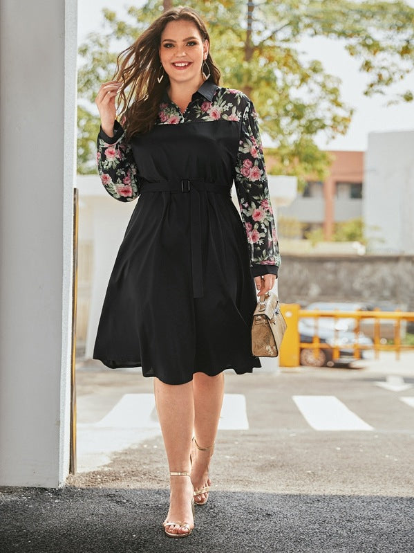 Plus Size Floral Print Buckle Belted Dress