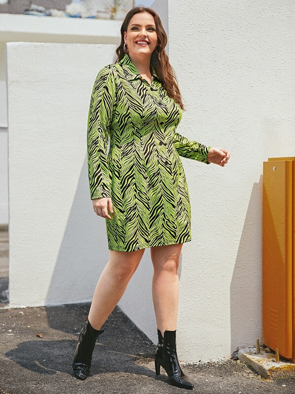 Plus Size Neon Green Striped Shirt Dress