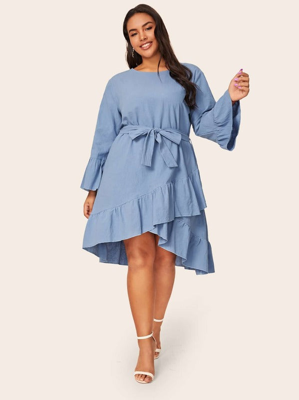 Plus Size Asymmetrical Ruffle Hem Belted Denim Dress