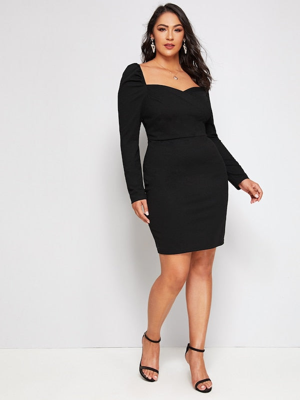 Plus Size Puff Sleeve Sweetheart Neck Bodycon Dress