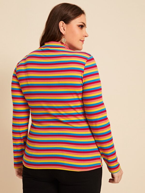 Plus Size Mock Neck Rainbow Striped Top
