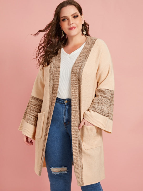 Plus Size Pocket Patched Contrast Panel Cardigan Top