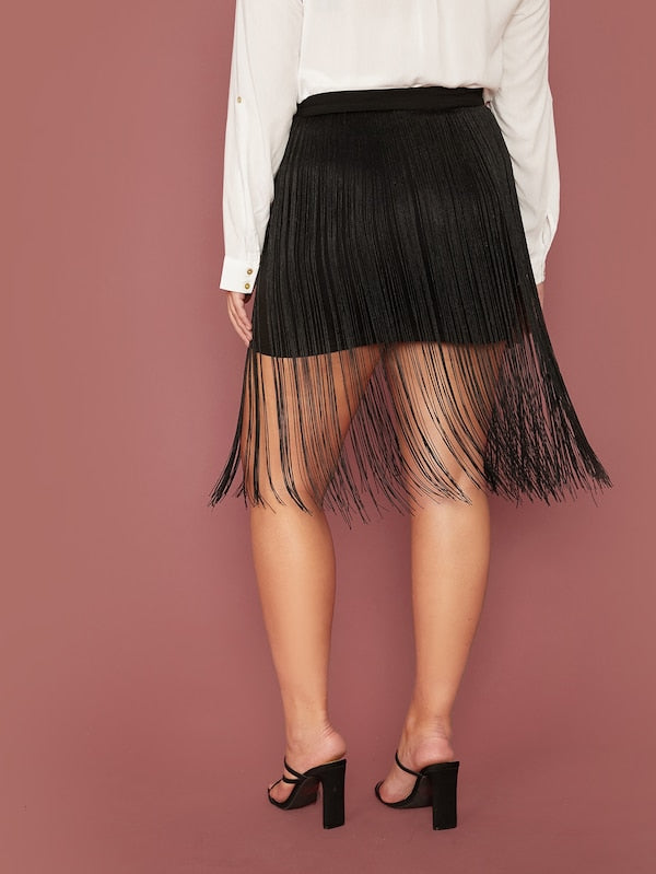 Plus Size Zipper Fly Fringe Detail Skirt