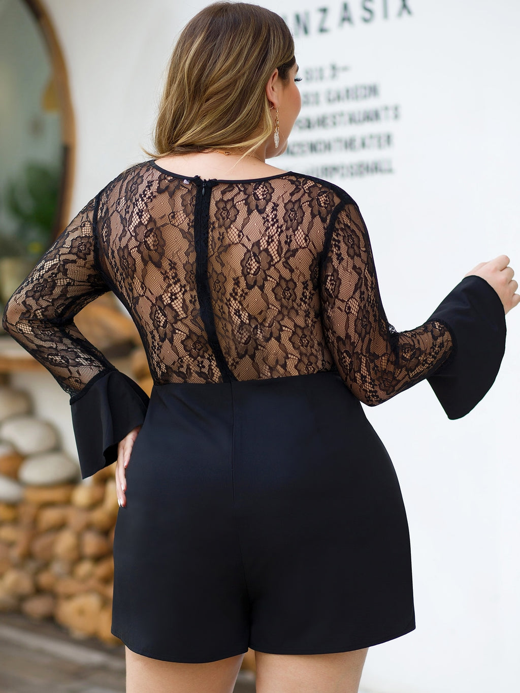 Plus Size Chic Flounce Sleeve Lace Panel Romper