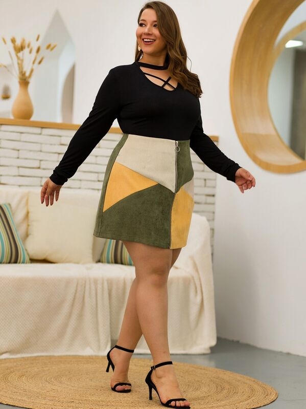 Plus Size Zip Up Cut And Sew Corduroy Skirt