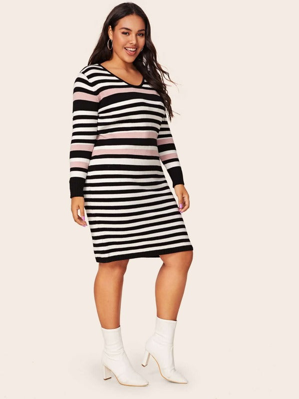 Plus Size Striped Midi Bodycon Sweater Dress
