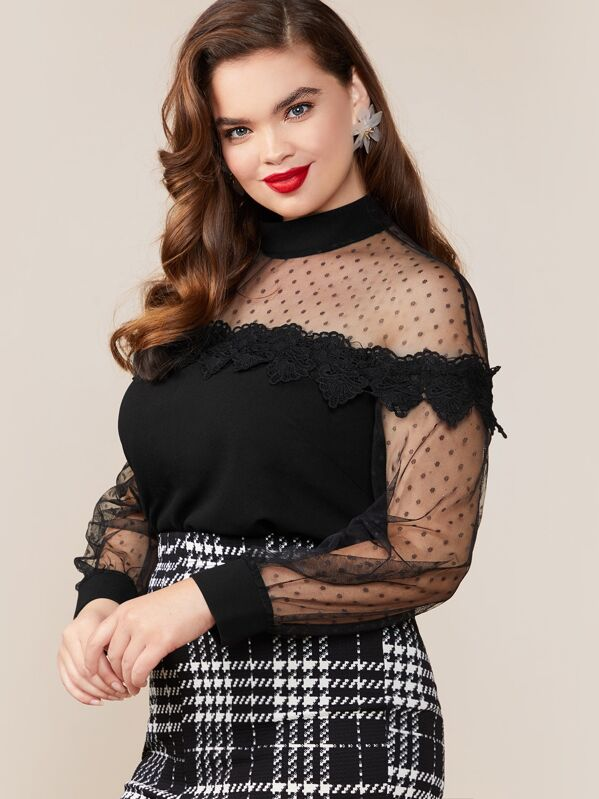 Plus Size Mesh Sheer Yoke Guipure Lace Trim Top