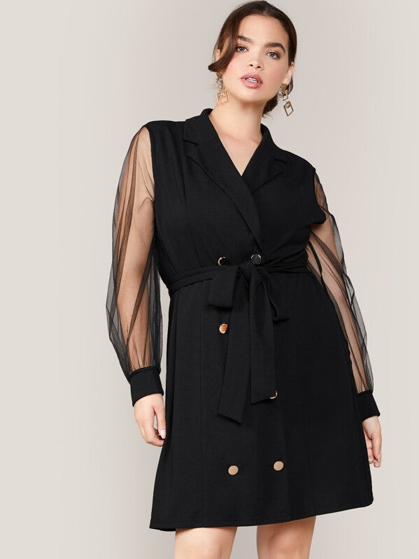 Plus Size Notched Collar Mesh Sleeve Self Belted Blazer Dress