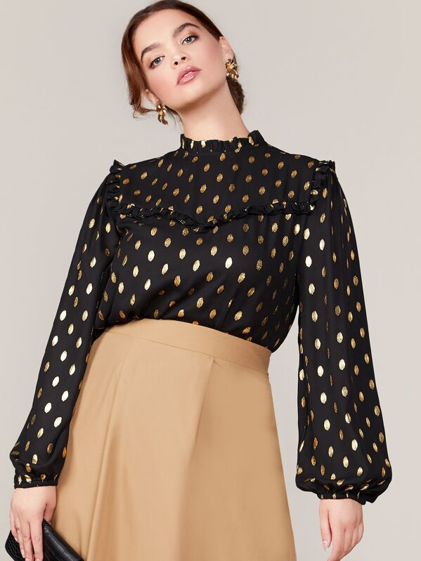 Plus Size Frill Trim Gold Dot Print Top