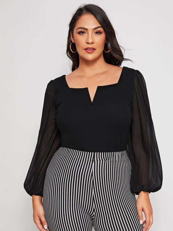 Plus Size Notch Neck Sheer Lantern Sleeve Top
