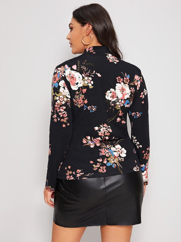 Plus Size Mock Neck Floral Print Top
