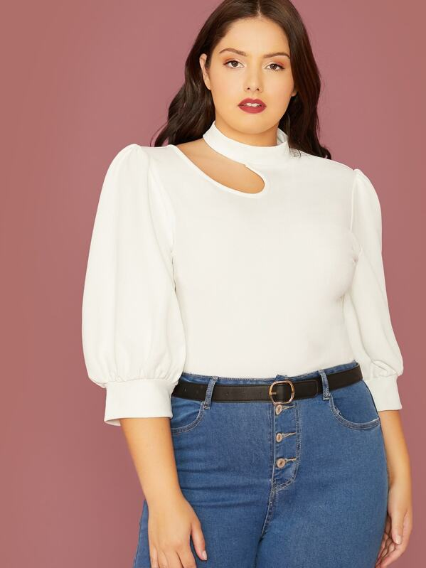 Plus Size Cutout Detail Puff Sleeve Plain Top