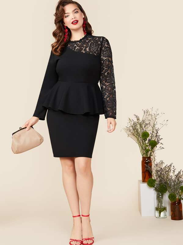 Plus Size Lace Yoke Peplum Top & Bodycon Skirt Set