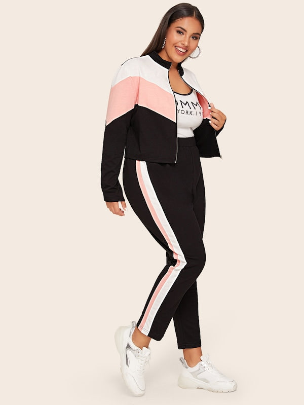 Plus Size Zip Up Colorblock Sweatshirt Top & Striped Side Pants Set