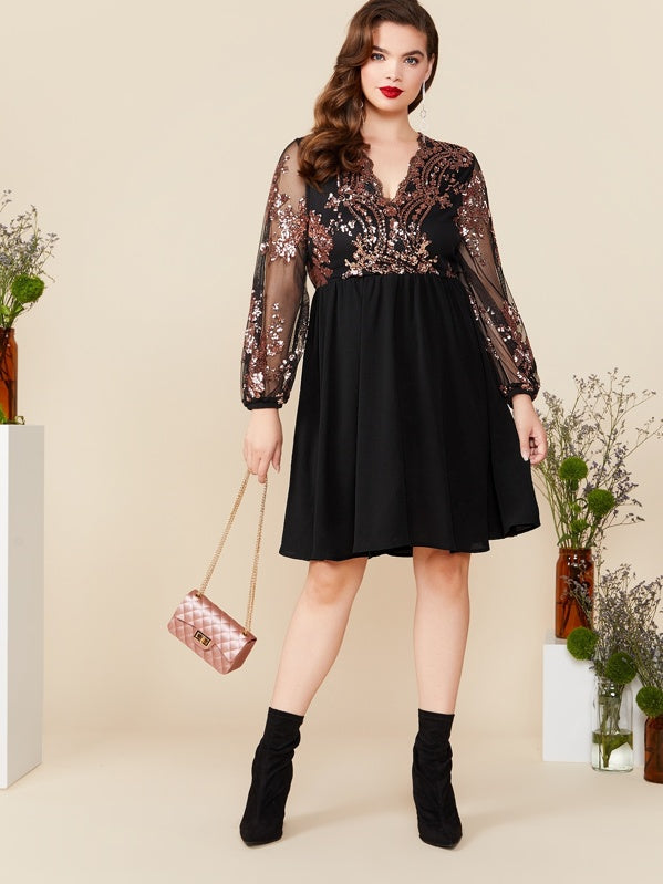 Plus Size Contrast Sequin Mesh Sleeve Flare Dress