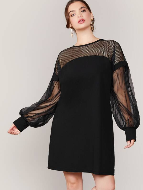 Plus Size Mesh Yoke Keyhole Back Lantern Sleeve Tunic Dress