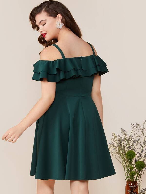 Plus Size Cold Shoulder Layered Ruffle Foldover Dress