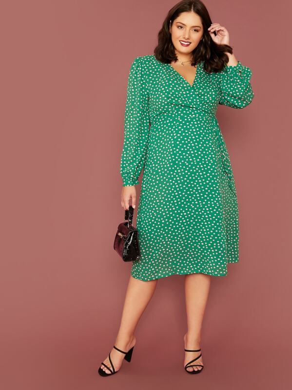 Plus Size Lantern Sleeve Wrap Knot Dot Print Dress