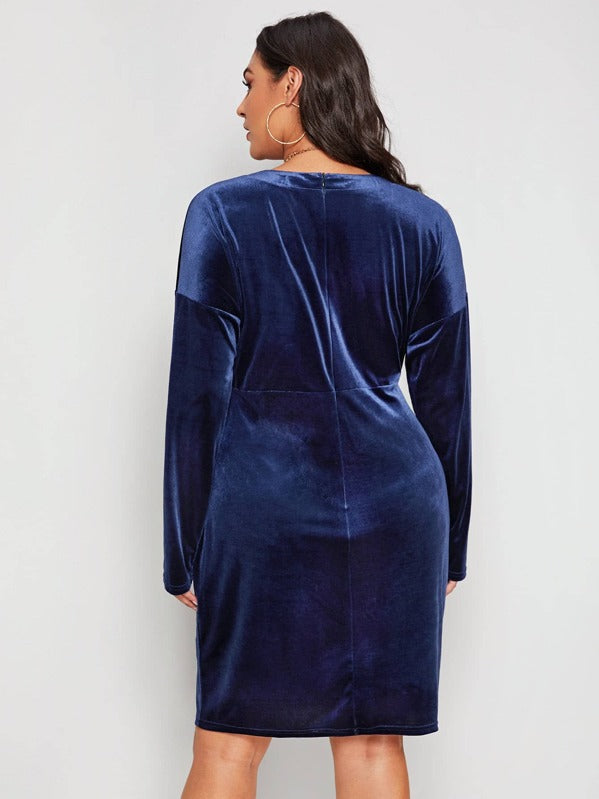 Plus Size Plunge Neck Zip Back Velvet Dress